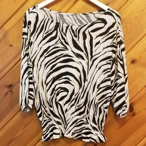 Ann Taylor LOFT Black Cream Zebra Print Top small